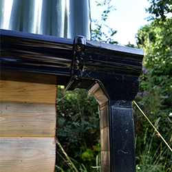 Water: The guttering collects rainwater into a container bellow